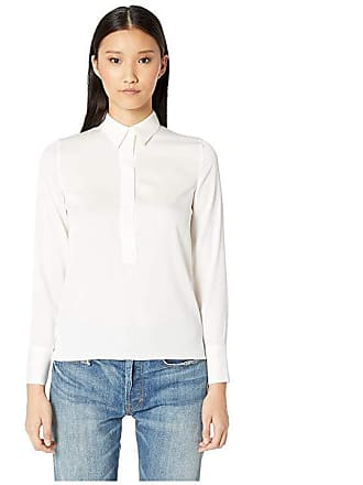 fbb38c0c5f3852 Vince Slim Fitted Popover Shirt (Optic White) Womens Blouse