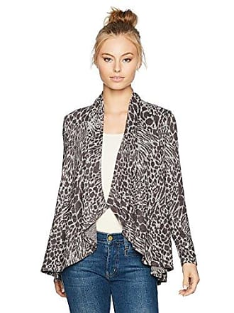 Ruby Rd. Womens Petite Cascade Collar Leopard Heathered Metallic Knit Cardigan, Charcoal Combo, PET Medium