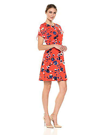 Ivanka Trump Womens Scuba Crepe Printed Georgette Cap Sleeve FIT and Flare Dress, Cardinal red, 8