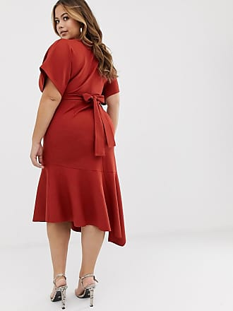 3075ed0b71 Asos Curve ASOS DESIGN Curve deep V pep hem midi dress - Orange