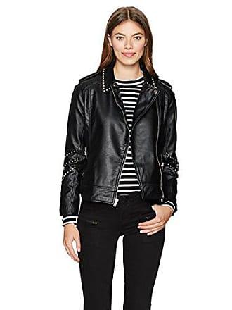 BB Dakota Womens Jerilyn Studded Pu Leather Moto Jacket, Black Small