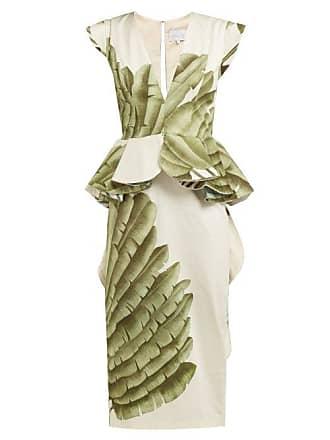 Johanna Ortiz Natural Listic Palm Leaf Print Cotton Dress - Womens - Ivory Multi
