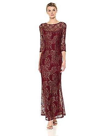 Marina Rossini Womens Foiled Metallic Lace Gown, Burgundy/Gold, 10