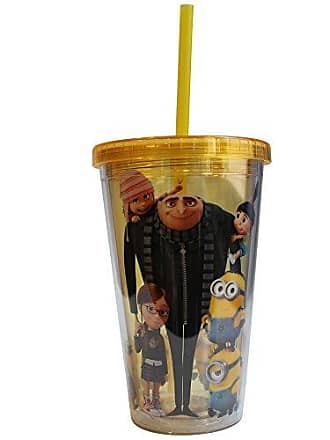 Universal Works DM35087 Despicable Me Cast Plastic Cold Cup with Lid and Straw, 16-Ounces, Yellow