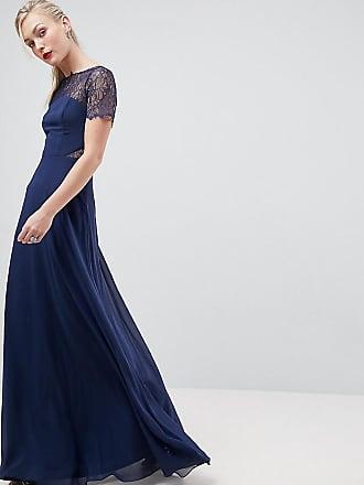 Asos Tall Lace Insert Paneled Maxi Dress - Navy