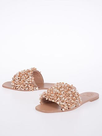 Tory Burch Leather LOGAN Slides with Rhinestones Applied size 5,5