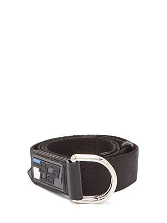 Prada Logo Canvas Belt - Mens - Black