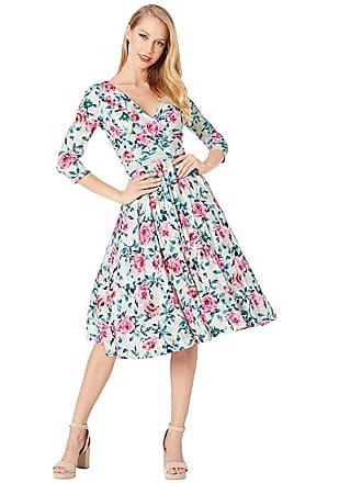 Unique Vintage 1940s Style Print Kelsie Wrap Dress (Cream/Pink Floral) Womens Dress
