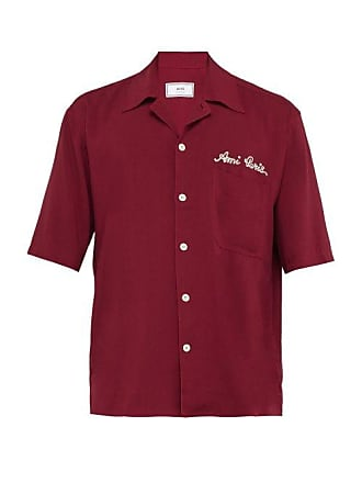 Ami Ami - Embroidered Camp Collar Shirt - Mens - Burgundy