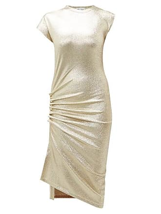 Paco Rabanne Asymmetric Ruched Metallic Effect Midi Dress - Womens - Silver Gold