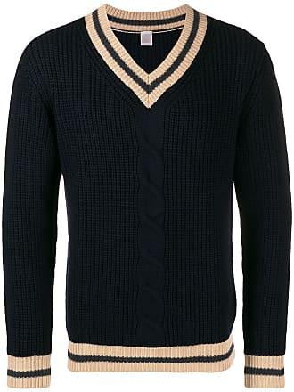 Eleventy Suéter com detalhe de listra e decote V - Azul