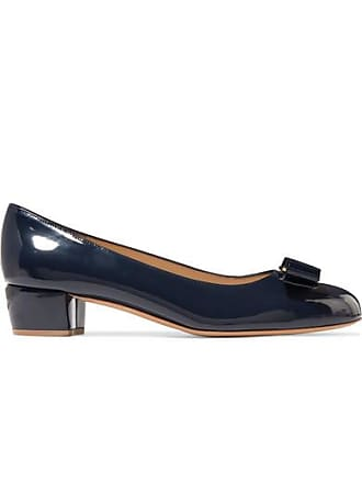 1019e1aa1 Salvatore Ferragamo Vara Bow-embellished Patent-leather Pumps - Navy