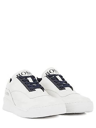 b6ce154c38ce BOSS Leather trainers with reflective window and rubber sole