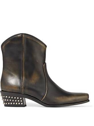 7d03adb03504 Miu Miu Ankle Boots Aus Leder In Distressed-optik Mit Nieten - Schwarz