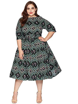 9515413526 Unique Vintage Plus Size 1940s Style Sleeved Sally Swing Dress (Green  Print) Womens Dress