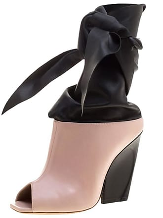 43f259aa768 Dior Dior Blush Pink   Black Leather Brooklyn Ankle Wrap Peep Toe Ankle  Boots Size 39