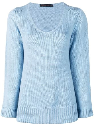 Incentive! Cashmere scoop neck knitted jumper - Azul