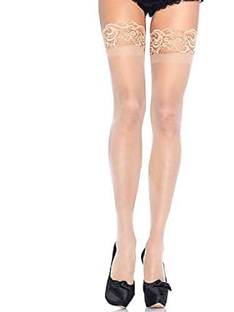 f0f3bc1a71b29 Leg Avenue Womens Thigh High Stockings with Silicone Lace Top, Nude, One  Size