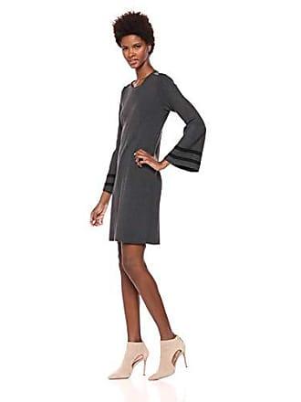Tommy Hilfiger Womens Peplum Sleeve Sweater Dress, Charcoal/Black, Small
