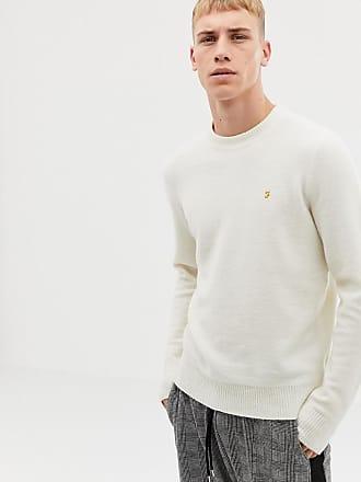 Farah Cottam crew neck wool sweater in off white - White