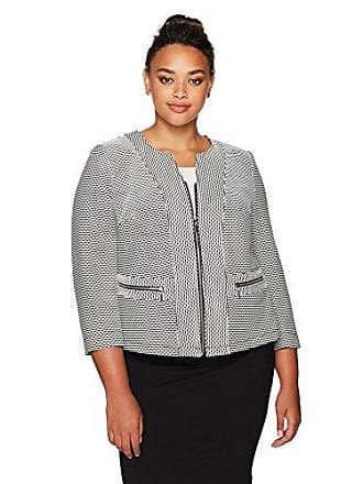Kasper Womens Plus Size Textured Knit Jacquard Flyaway Jacket, Black/Cream, 18W