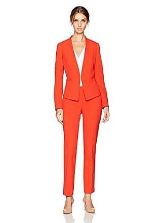 Tahari by ASL Womens Tangerine Bi Stretch Open Front Pant Suit, 4