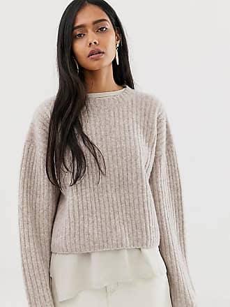 Weekday ribbed knitted sweater in beige - Beige