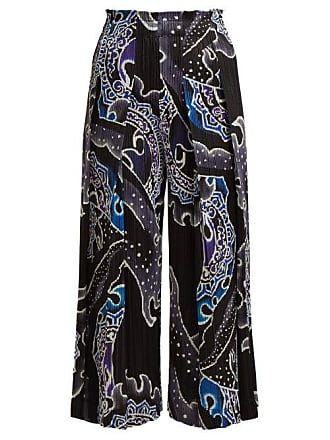 Pleats Please Issey Miyake Flame Print Pleated Cropped Wide Leg Trousers - Womens - Black Blue