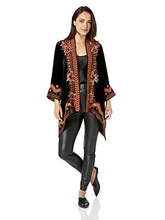 Johnny Was Womens 3/4 Sleeve Draped Cardigan with Embroidery, Black, S