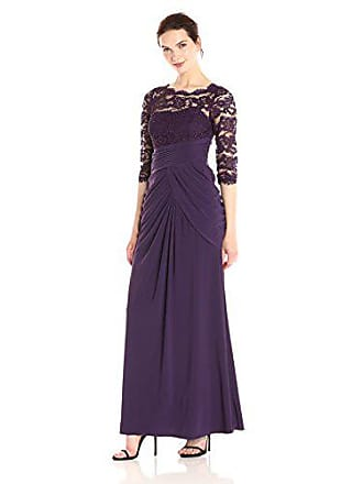 Adrianna Papell Womens Beaded Lace and Jersey 3/4 Sleeve Mob Gown, Aubergine, 8