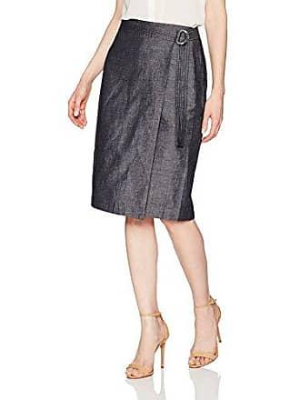 Ellen Tracy Womens Faux Wrap Belted Skirt, Indigo Denim/Face, 10
