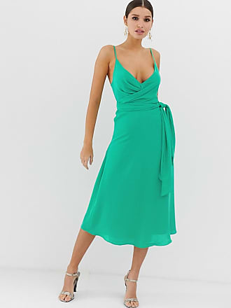 9f96f647ffe2f Asos cami wrap midi dress with tie waist - Green