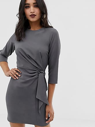 Asos wrap detail mini dress with long sleeves - Gray