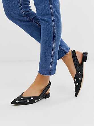 Asos Liberate studded slingback ballet flats in black - Black