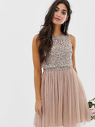 Maya Bridesmaid sleeveless mini tulle dress with tonal delicate sequin overlay in taupe blush - Brown