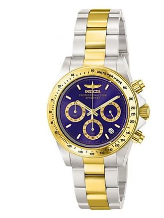 Zales Mens Invicta Speedway Chronograph Two-Tone Watch with Blue Dial (Model: 3644)