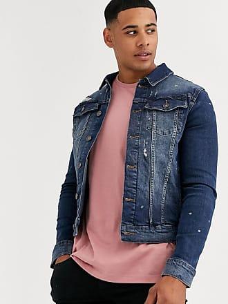 River Island muscle fit denim jacket in blue