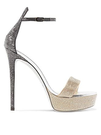 86e526ed00ea Rene Caovilla Celebrita Crystal-embellished Leather Platform Sandals -  Bronze
