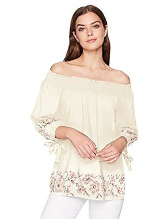Oneworld Womens 3/4 Sleeve Off The Shoulder Woven Top, Windswept Moors- Edelweiss, Large