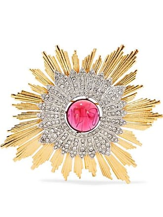 Kenneth Jay Lane Gold And Silver-tone Crystal Brooch