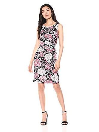 Ivanka Trump Womens Sleeveless Printed Scuba Crepe Dress, MERM/Blush, 4