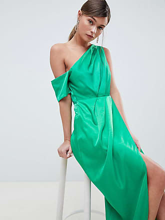 7fb1afb02c0 Asos One Shoulder Maxi Dress In Hammered Satin - Green