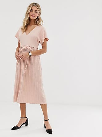 82ea91942 Asos textured v neck midi skater dress with pleated skirt