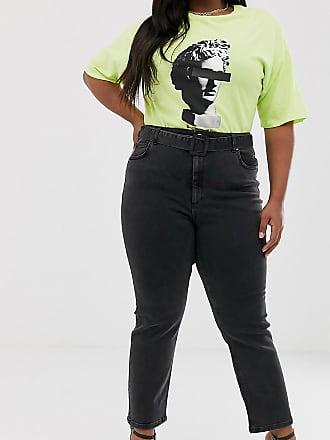 baea19a985 Asos Curve ASOS DESIGN Curve - Jean slim droit avec taille haute à ceinture  - Noir