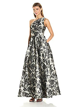 Carmen Marc Valvo Womens One Shoulder Printed Taffeta Ball Gown, Grey/Silver, 14