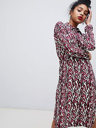 Noisy May Vestito camicia a maniche lunghe con stampa animalier-Multicolore