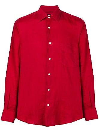 Aspesi slim-fit linen shirt - Vermelho