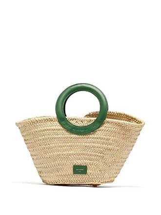 Zeus + Dione Scorpio Leather Trimmed Raffia Basket Bag - Womens - Green Multi