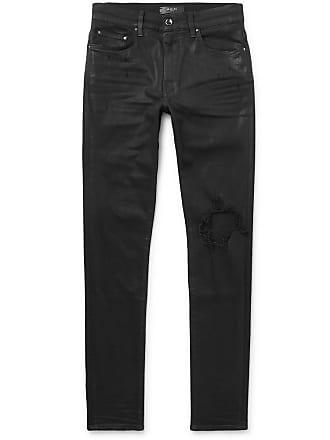 Amiri Skinny-fit Distressed Waxed Stretch-denim Jeans - Black