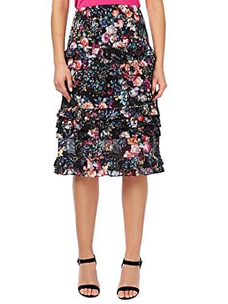 Nicole Miller Womens Knee Length Flowy Midi Skirt, Black Multi Floral, 8
